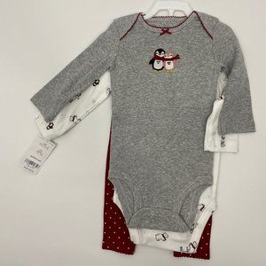 Carter's Penguin 3 piece set onesies & legging NEW